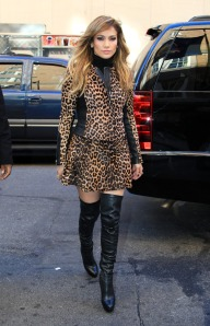 Jennifer Lopez wears a sexy leather and leopard print outfit as she is spotted out and about in New York City